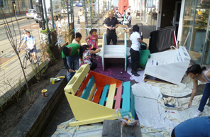 The Bristol Metropolitan Academy Envision Team making benches out of reclaimed wood