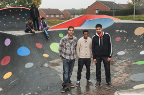 The Small Heath Envision team at the renovated skate park