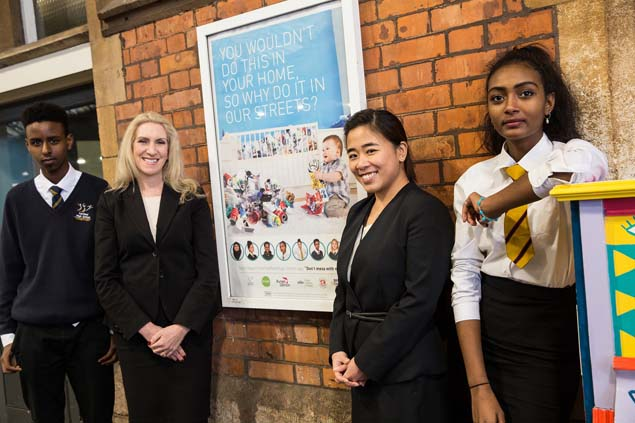 Business mentors from Burges Salmon with students from Fairfield School at the poster campaign launch.
