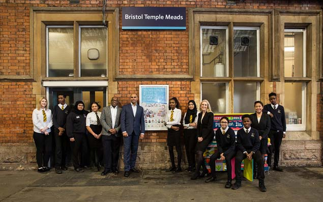 Bristol Mayor, Marvin Rees, meets with young Community-Apprentices at the poster campaign launch at Bristol Temple Meads station.
